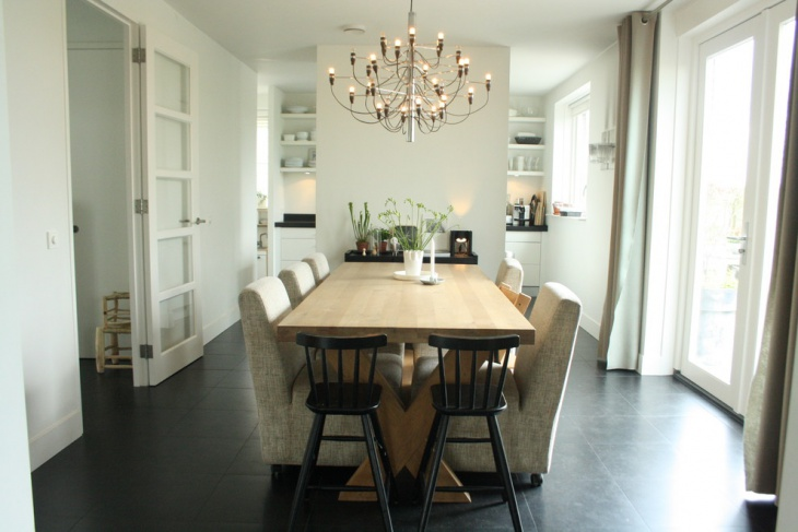 sophisticated dining area with white wall