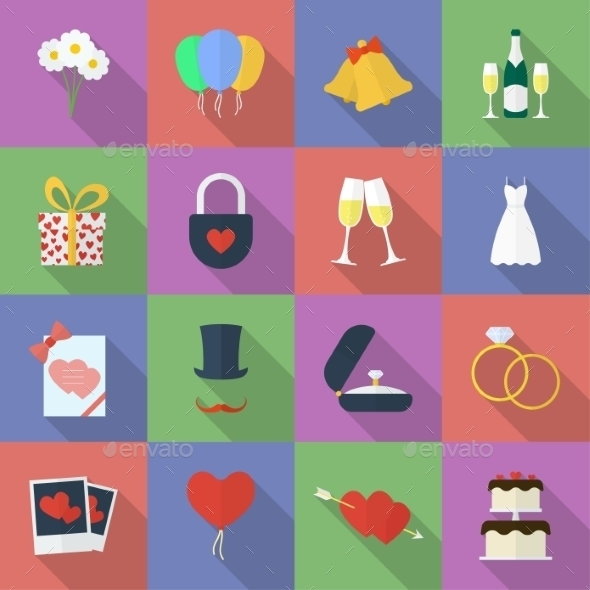 Cute and Colorful Wedding Icons