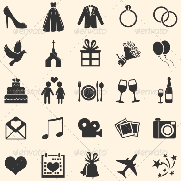 Set of 25 Wedding Icons