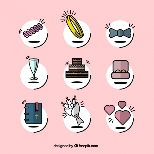 lovely wedding icons free vector