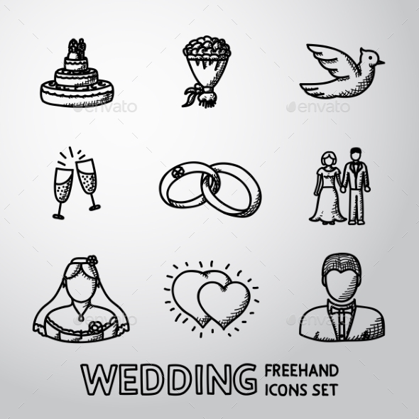Set of Handdrawn Wedding Icons