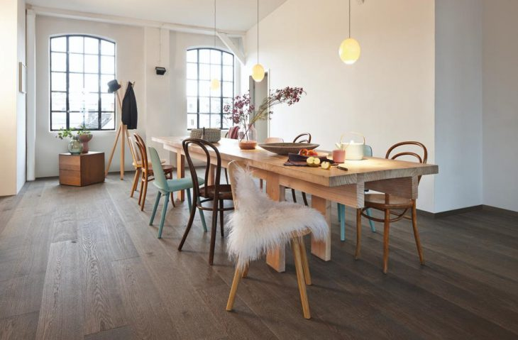 trendy dining room with oak furniture e1466150371379