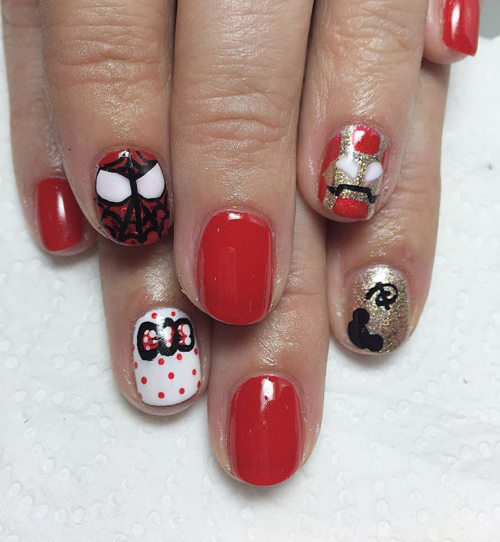 Hand Painted Marvel Nail Art