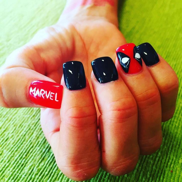 Black Iron Man Nail Art for Square Nails
