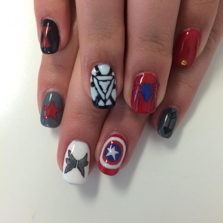 Marvel Nail Design for Long Nails