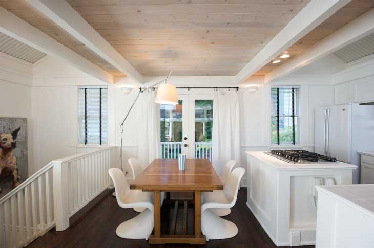 White Color Dining Area with Wooden Roof