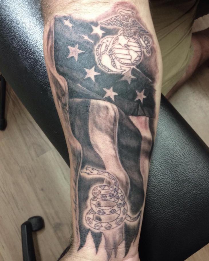 American Military Flag Tattoo