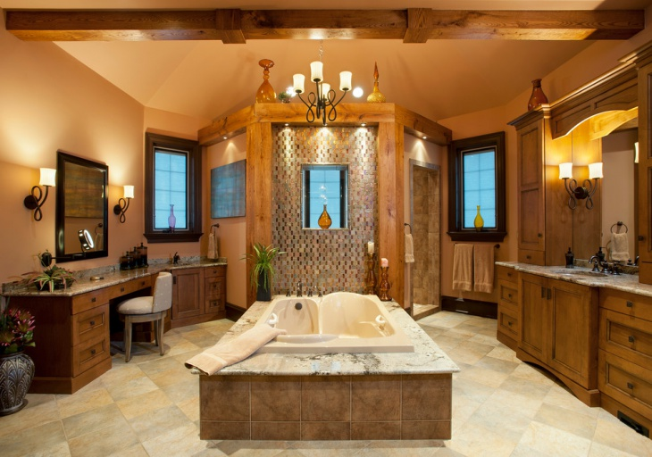 Vintage Look Bathroom with Wooden Cabinets