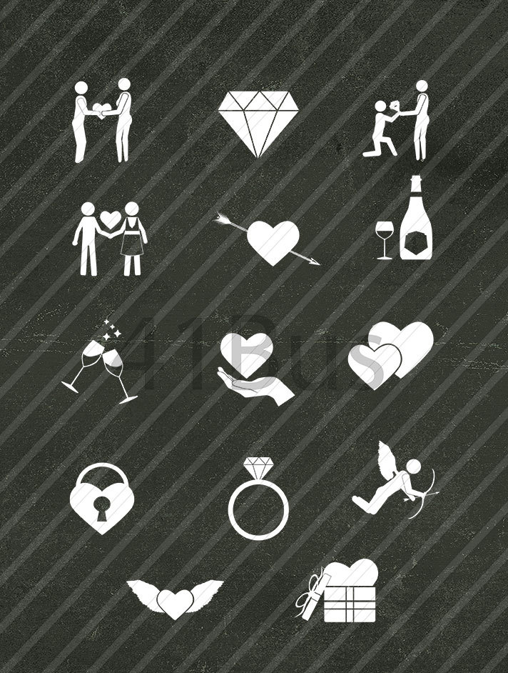 black and white wedding icons