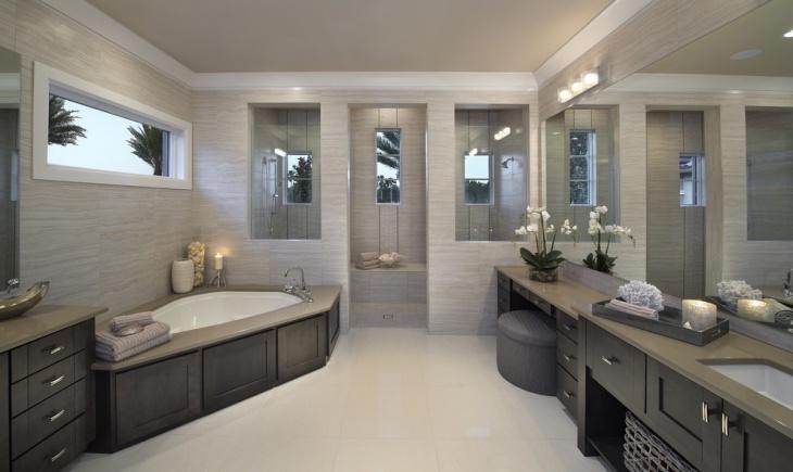 modern bathroom with corner bath tub