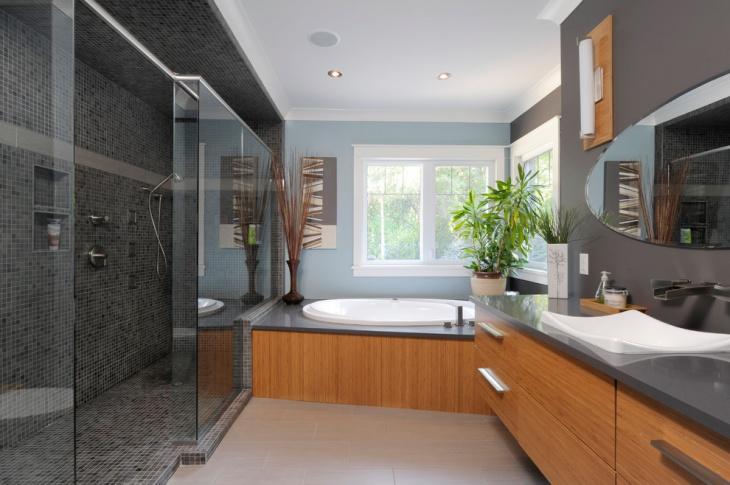 black mosaic tile bathroom idea