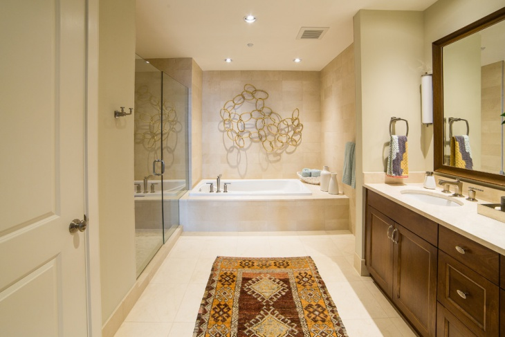 transitional bathroom with ceiling