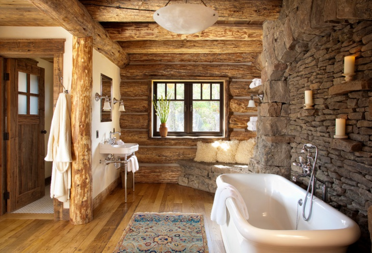 Rustic Bathroom with Stone Wall