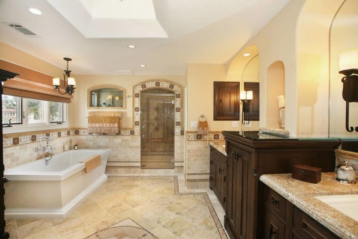 mediterranean bathroom with white bath tub