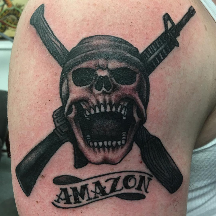 Military Skull with Banner Tattoo