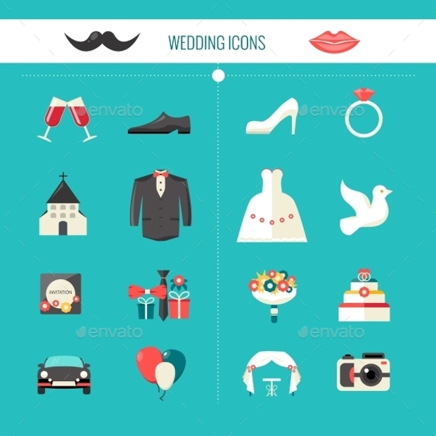 color decorative wedding icons