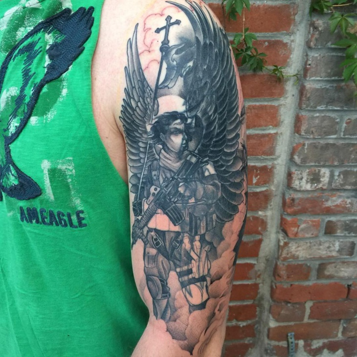 Soldier with Angel Wings Tattoo