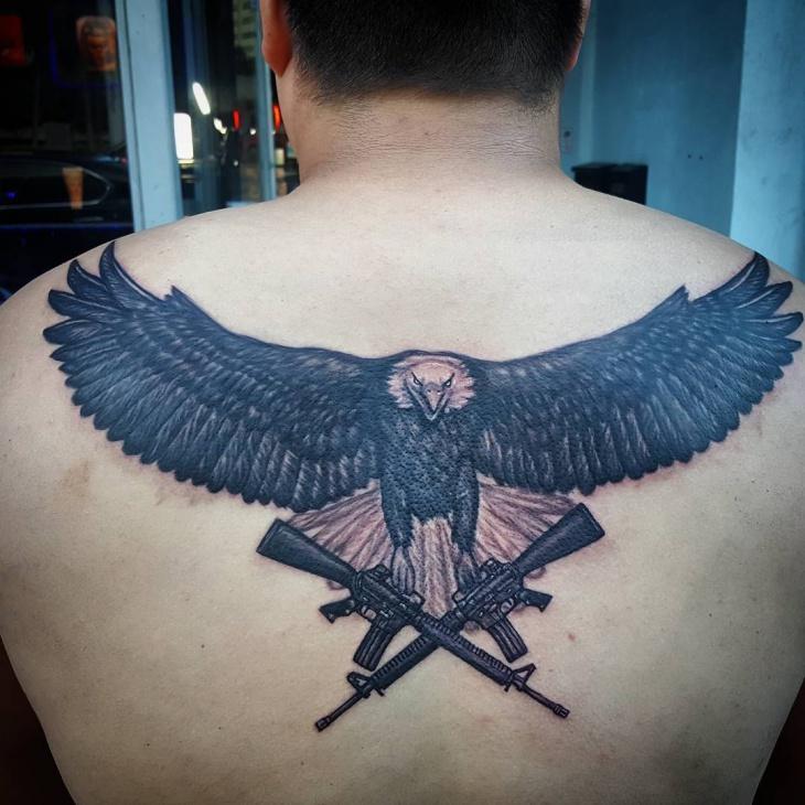 Bold Eagle Tattoo on Back