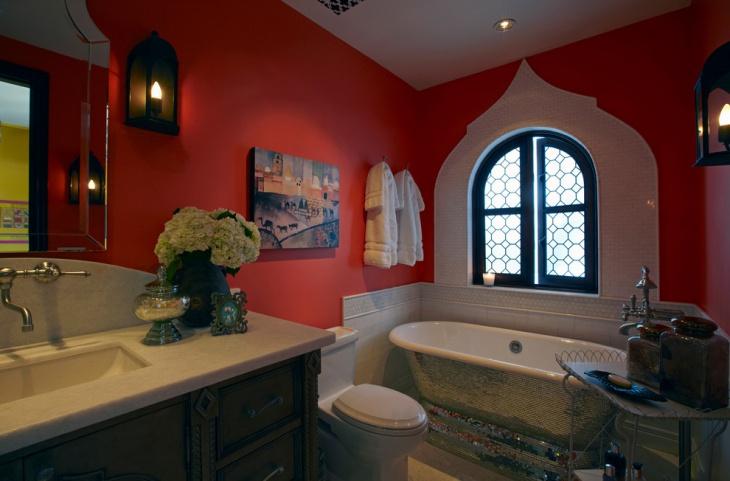 red cozy bathroom idea