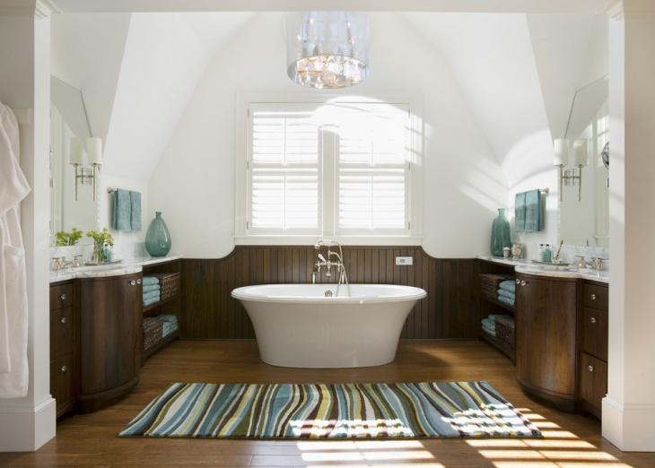 beach style bathroom with wooden floor