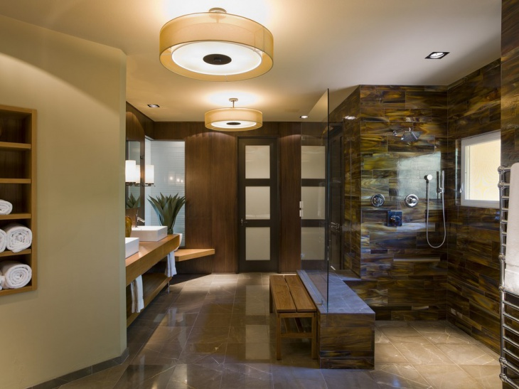 Luxurious Bathroom with Mod Ceiling Lights