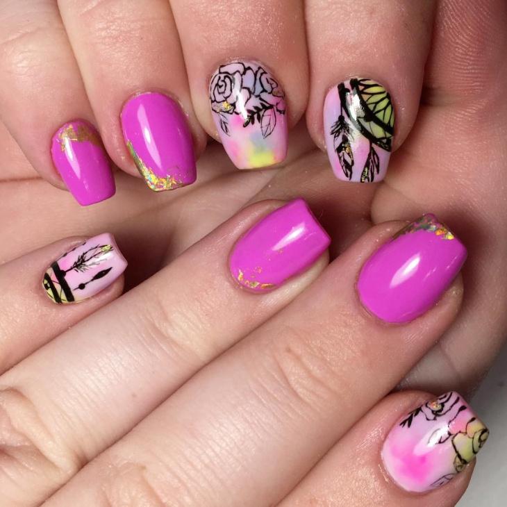 Cool Watercolor Nail Design