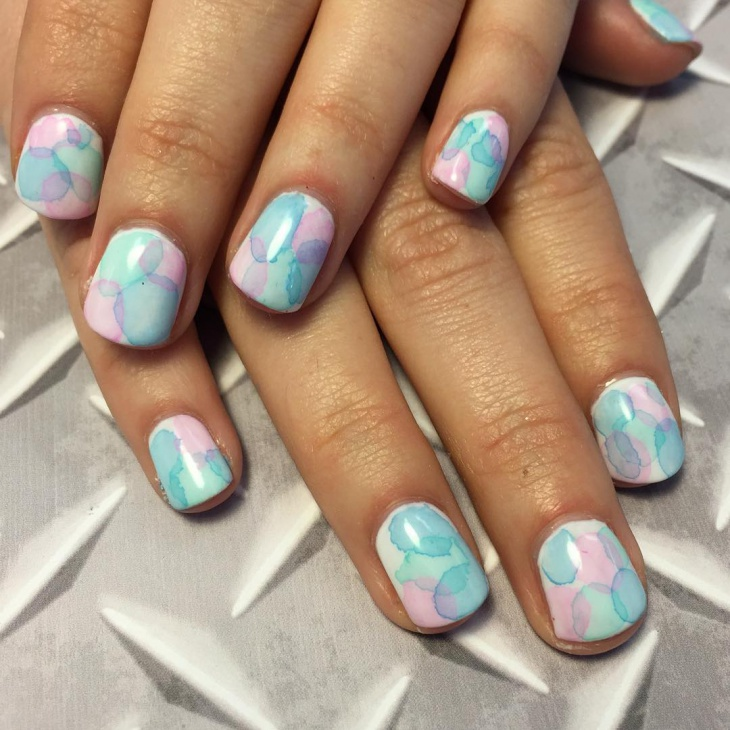 pink and blue gel nail design