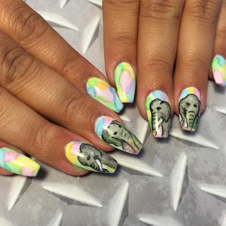 Elephant Art on Acrylic Nails