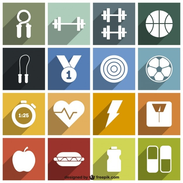 Long Shadow Sport and Fitness Icons Pack