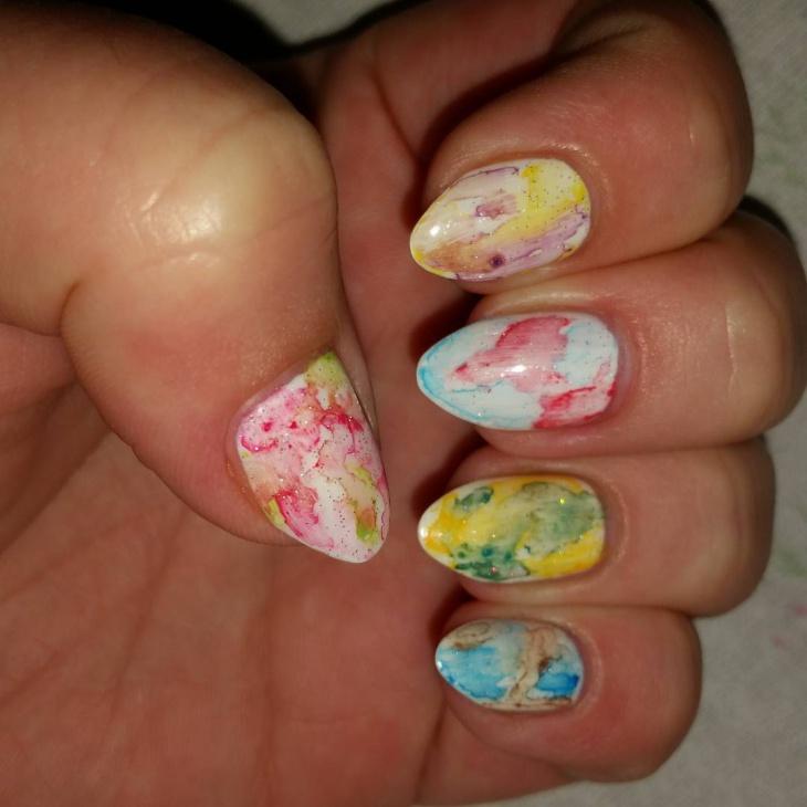 watercolor glitter nail design