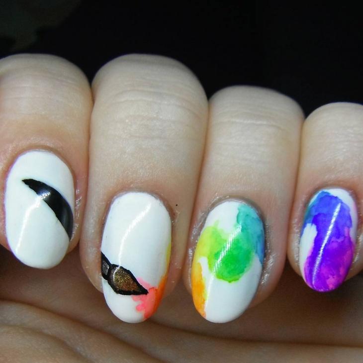 Rainbow Watercolor Nail Design