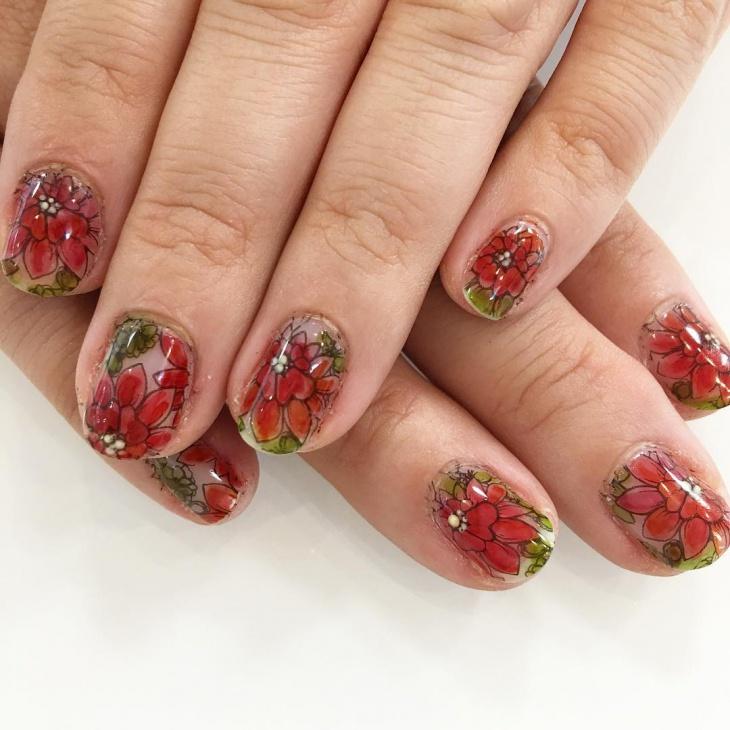 Red Floral Art on Gel Nails
