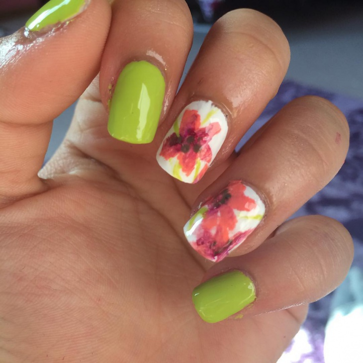 Green Color Nail Art Design