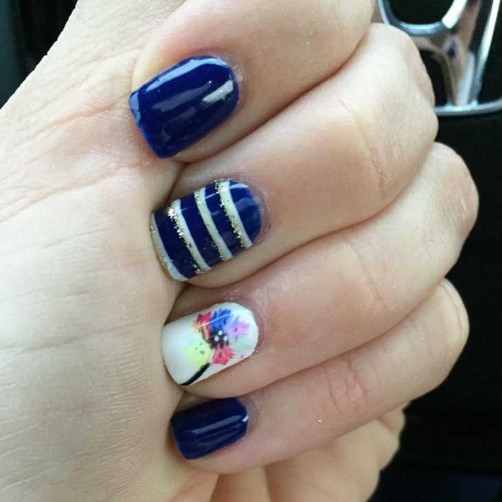 blue and white striped nail art