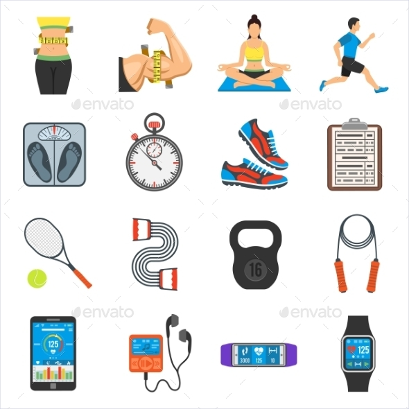 Fitness, Gym, Health Flat Icons Set