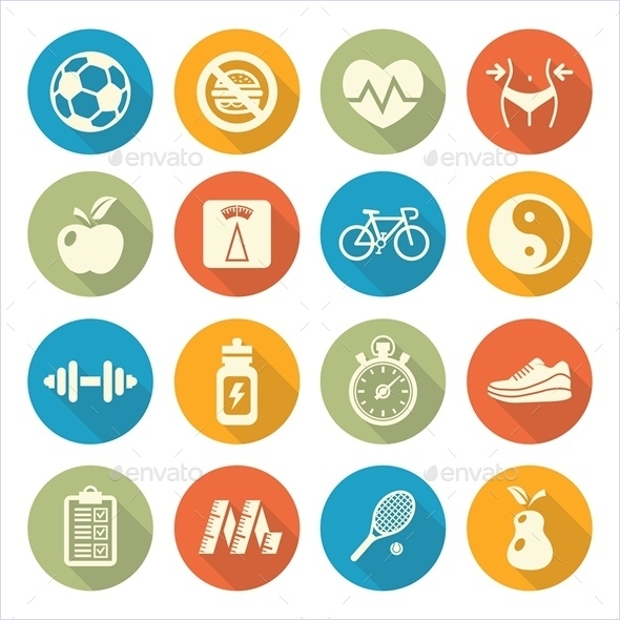 Health and Fitness Icons in Flat Style