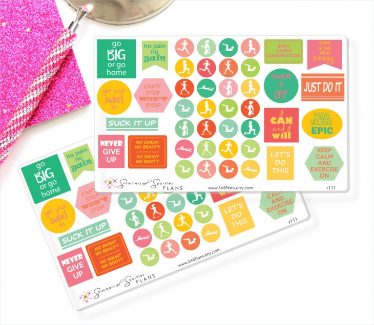 Fitness Icon and Motivational Planner Stickers