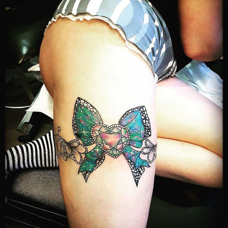 Heart Shaped with Ribbon Thigh Tattoo