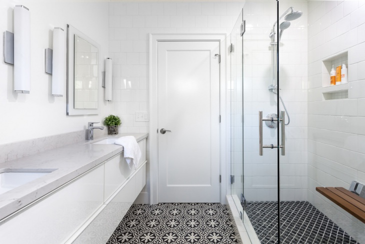 Transitional Bathroom with Floral Print Floor