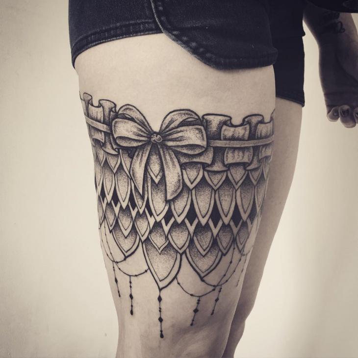 Thigh Garter Tattoo for Girls