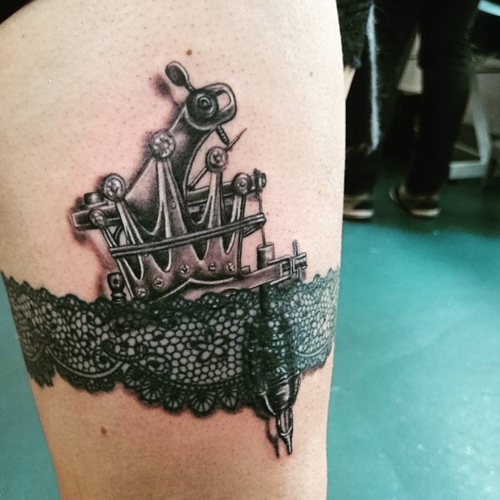 Lace with Ship Tattoo Design