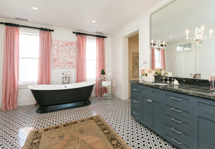 Retro Bathroom with Pink Curtains