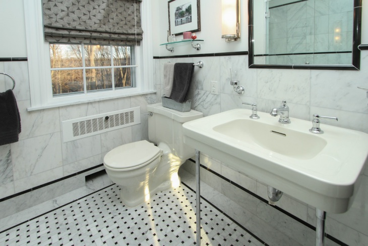 Small Bathroom with White Marble Wall