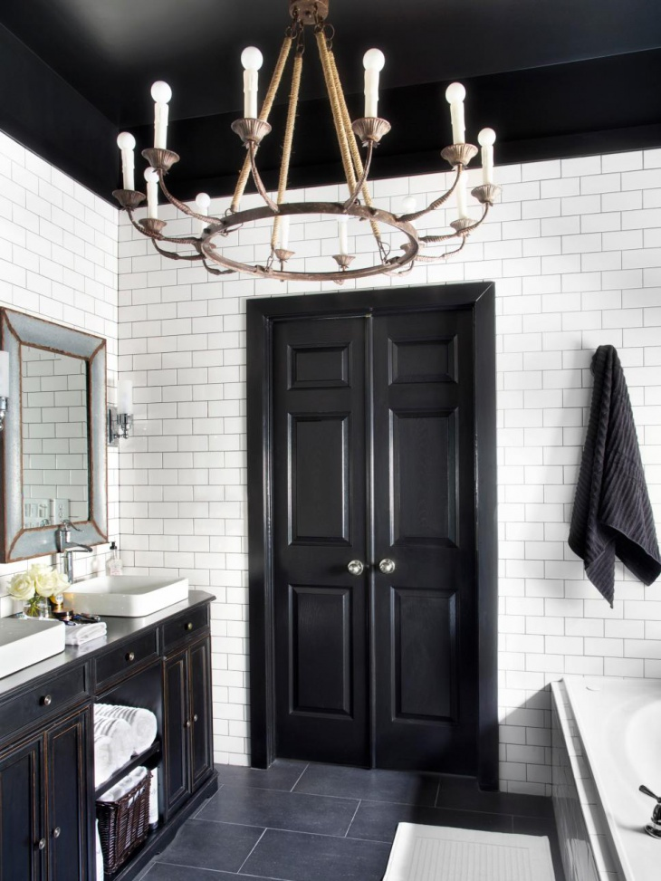 Simple Bathroom with Iron Chandelier