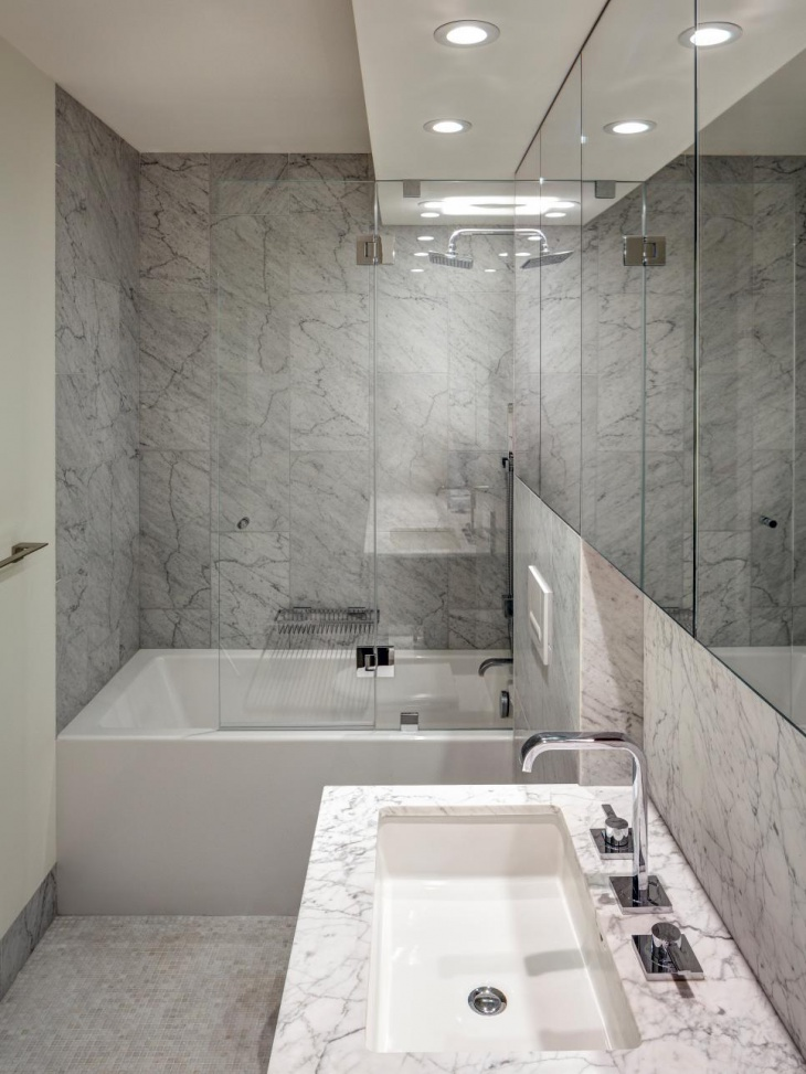 Modern Bathroom with Marble Wall