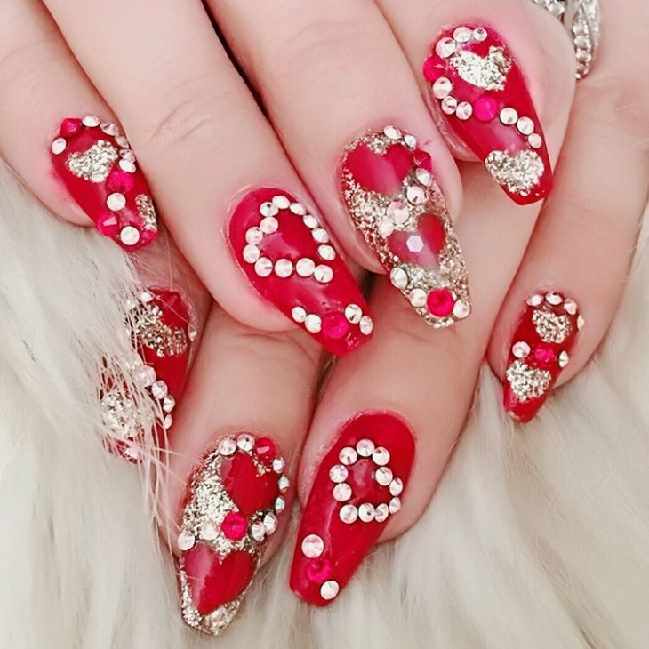 Red Rhinestone Unique Nail Design