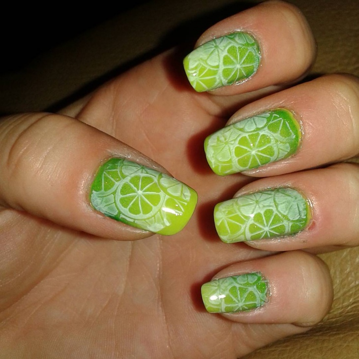 Cute Lime Stamped Nail Art