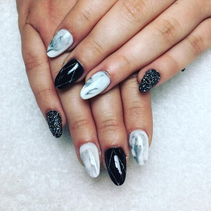 Black and White Unique Nail Art - 20+ Unique Nail Art Designs, Ideas Design Trends - Premium PSD
