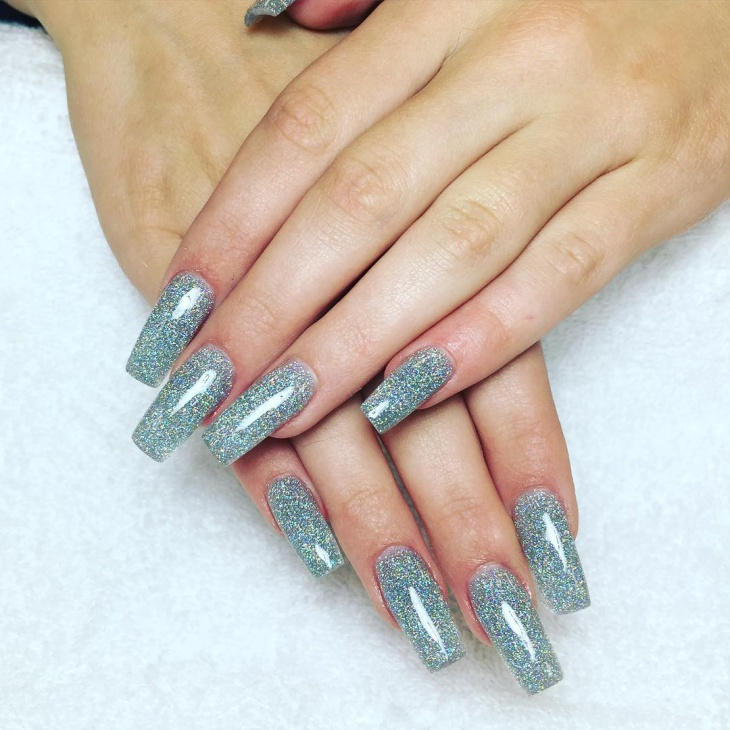 Silver Glitter Nail Design for Long Nails