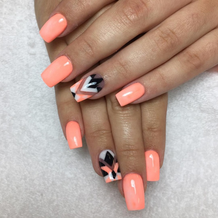 Black Striped Nail Design on Orange Nails